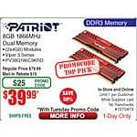 8GB (2x 4) Patriot Viper 3 Red DDR3 1866 SDRAM Memoy $40AR @frys w/ emailed code