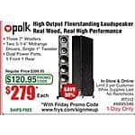 "Polk Audio RTi12 5.25"" Floorstanding Speaker - Black $279ea @Frys (w/emailed code)"