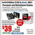 AMD Athlon 5150 & MSI AM1I Motherboard bundle $39AR @Frys