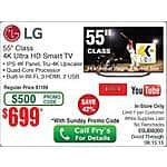 LG 55UB8200 4K UHD TV $699 @Frys (w/emailed code listed as in-store)
