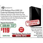 Seagate Backup Plus 5TB External Desktop Hard Drive : STDT5000100 $119@Frys (w/emailed code)