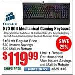 Corsair K70 RGB LED Mechanical Keyboard - Cherry MX Red Switches $120AR @Frys