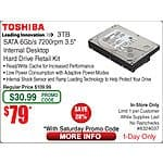 "Toshiba 3TB 7200 RPM 3.5"" Internal Hard Drive Retail Kit : PH3300U-1I72 $79@Frys 8/15 (w/emailed code) Polk Audio R150 Bookshelf Speakers $49.pr"