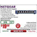 Netgear GS108-400NAS ProSafe 8-port Gigabit Switch $20AR @Frys w/emailed code 8/19