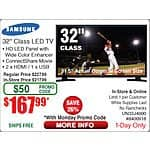 "Samsung 32"" LED J4000 HDTV UN32J4000AFXZA $148 (was 168 w/emailed code 8/31)@Frys ($168@TD poss)  also 40"" 1080P / $278"