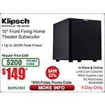 Klipsch 300W Subwoofer K100-SW  $149 (w/emailed code) 9/4 Frys 1TB Samsung T1 USB 3.0 Portable SSD $359