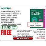 Kaspersky Internet Security 1-PC FAR (mir+upg) (w/emailed code) 9/17 @Frys JBL Loft 40 Bookshelf Speakers $39/pr - 9/13 items Netgear PL1200 Powerline Kit $60