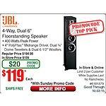 """JBL ES80 4-way, Dual 6"""" Floorstanding Loudspeaker (ES80BK) $119AC@Frys (emailed code) 9/27"""