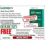 Kaspersky Anti-Virus 2016 (3 PCs / 1 Year) Free  after Rebate @Frys  9/29 w/emailed code