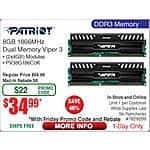8GB Patriot Viper DDR3 1866 Memory Kit $35AR@Frys 10/2 (w/emailed code) RaidMax Blade ATX Mid Tower Case $25AR