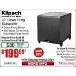 Klipsch Sub-12HG Synergy Series 12-Inch 300-Watt Subwoofer $199 w/emailed code 10/3 Panasonic Sound Rush On-Ear Headphones $10ea