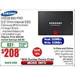 "SAMSUNG 850 PRO 2.5"" 512GB SATA SSD $208@Frys (w/emailed code 10/4) 5TB Seagate Backup Plus Hard Drive $118, Kaspersky IS 2016 FAR (online 10/6) Polk Rti12 Speakers $279ea"