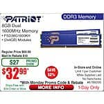 "8GB (2x 4) Patriot Signature DDR3 1600 SDRAM Desktop Memory $33AR@Frys w/emailed code 10/5 LG 34"" Curved 34UC87C IPS 3440x1440 Monitor $699 Intel Pentium G3258 CPU $47"