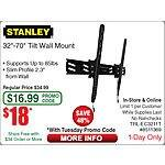 "Stanley Large Tilt Mount Supports up to 32-70"" $18 @Frys (w/emailed code) 10/6  Acer R3-471T-57JG 14"" Touchscreen Covertible Laptop i5-5200u $499"