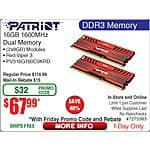 Patriot Viper 16GB (2 x 8GB) 240-Pin DDR3 1600 SDRAM  Desktop Memory Kit $68AR @Frys (w/emailed code 10/9)
