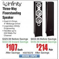 "Frys Deal: Infinity Primus 363 6.5"" Tower Speaker - Single $107 @Frys with Store Pick-Up Only, *Not Available for Shipping*"