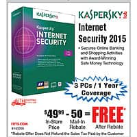 Frys Deal: Kaspersky Internet Security 2015 - 3PCs FAR Free after $50 Rebate @Frys AVG AntiVirus 2015 3PC/2yr also