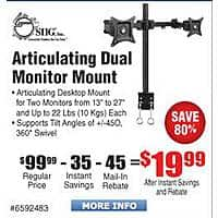 Frys Deal: SIIG Articulating Dual Monitor Desk Mount $20AR @Frys