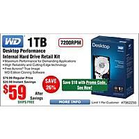 Frys Deal: 1TB WD Black Desktop Hard Drive $59 ($49 w/emailed code) @Frys