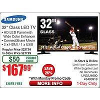 "Frys Deal: Samsung 32"" LED J4000 HDTV UN32J4000AFXZA $148 (was 168 w/emailed code 8/31)@Frys ($168@TD poss)  also 40"" 1080P / $278"