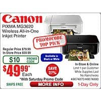 Canon Pixma MG3620 AIO Photo Printer $  50 @Frys (3/19 w/emailed code) Corsair RGB Strafe Cherry MX Red Mechanical Keyboard $  100