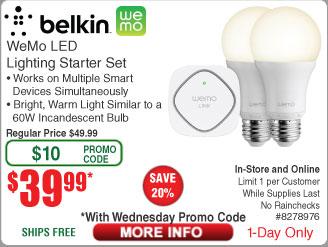 Belkin WeMo LED Lighting: 2-bulb Starter Kit $40 @Frys (8/12 w/emailed code) Klipsch Sub-12HG 12-Inch 300-Watt Subwoofer $199 SIIG Dual Monitor Mount $29AR