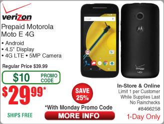 "Motorola Moto E 4G 4.5"" Verizon Prepaid Smartphone $40@Frys $29.99AC (11/2 w/emailed code)"