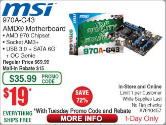 MSI 970A-G43 Socket AM3+ 970 ATX AMD Motherboard $19AR @Frys w/promo code  Samsung PRO 16GB U3 microSD HC $9