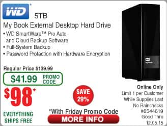 WD 5TB My Book Hard Drive $98AC @Frys (w/emailed code 12/4) 1TB Samsung 850 PRO SSD $399, ESET Smart Security 2016 FAR back again