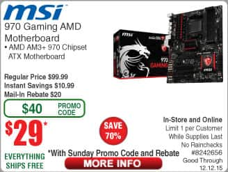 "MSI 970 AM3+ ATX Motherboard $29AR@Frys(w/emailed code)12/6 Samsung 32"" Smart HDTV $197 Infinity Primus 143 Speakers $34ea, Thermaltake V31 Case $34AR"