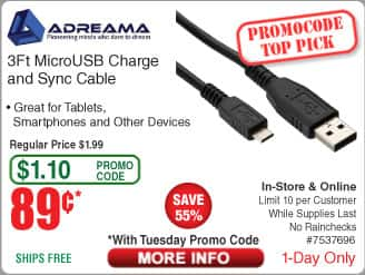 Adreama 3ft Micro USB Cable - Black $0.89 @frys (2/9 w/emailed code)  MSI 970 Gaming AMD Motherboard $54AR