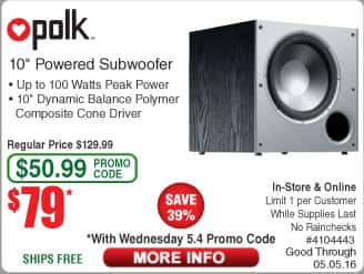 "POLK Audio PSW10 10"" Powered Subwoofer $79@frys (w/emailed code) Sennheiser HD 280 Pro Headphones $70"