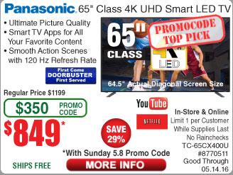 """65"""" Panasonic Smart 4k LED HDTV  TC-65CX400U $849@Frys (w/emailed code starts 5/8 w/emailed code)"""