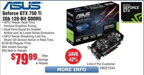 Asus GTX 750 Ti Video Card $80AR, GTX 970 Turbo $250AR @Frys