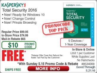 Kaspersky Total Security 2016 5-Dev Free after $65 Rebate (w/emailed code starts 5/15) AVG Protection 2016 Unlimited Dev/2yr FAR ESET NOD32 3-PC $15