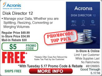 Acronis Disk Director 12 Free after $30 Rebate @Frys (starts 5/17) TP-Link HS110 Smart Wifi Wall Plug w/Energy Monitor $25, Inland ProHT 40W Equiv LED A19 Bulb $0.87