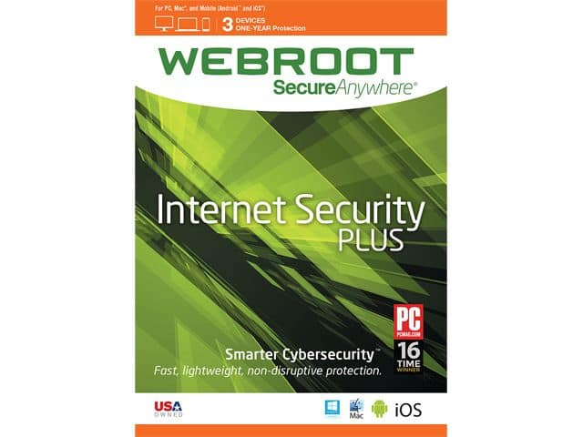 Webroot SecureAnywhere Internet Security Plus 3-Dev//1Yr Download $10AC @Newegg