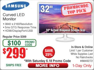 """Samsung 32"""" 1800R Curved 391F PLS LED Monitor $299@Frys (starts 6/18 w/emailed code)  3TB Toshiba Portable HDD $99 Samsung 850 EVO SSD 250GB/$75"""