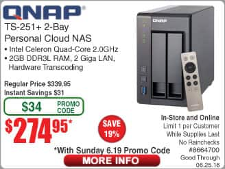 QNAP TS-251+ 2-bay Diskless NAS $275@Frys (starts 6/19 w/emailed code) TS-451+ $395 now $270/$390@Newegg