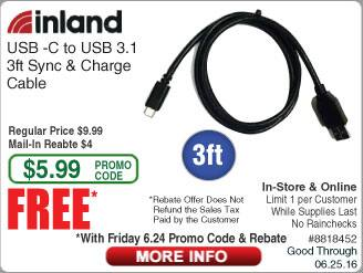 Inland USB-C - USB3.1 Cable Free after $4 Rebate @Frys (w/emailed code starts 6/24)  Samsung Dual OTG Drive $10 Microsoft Arc Mouse $20 Cyberpower 1325VA UPS $105