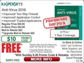 "Kaspersky Anti-Virus 2016 (3-PC/1yr) Free after $45 Rebate @frys (w/emailed code starts 6/26) Thermaltake Luxa2 EnerG 10000 mAH Power Bank $5AR  27"" LG UHD IPS monitor $549"