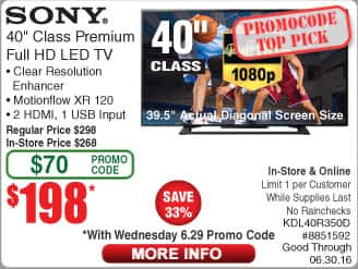 "Sony 40"" LED FHD HDTV KDL40R350D $198 @Frys (6/29 w/emailed code) Patriot 8GB DDR3 1600 Laptop RAM Kit $20AR Samsung 64GB OTG Flash Drive $18"