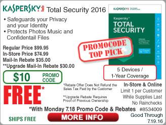 Kaspersky Total Security 2016 5-Dev Free after $65 Rebate (w/emailed code starts 7/18)  Intel Pentium G3258 CPU $39  8GB Patriot DDR3 1600 RAM Kit $20AR