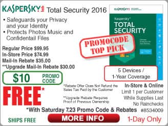 Kaspersky Total Security 2016 5-Dev Free after $65 Rebate (w/emailed code starts 7/23)  6TB WD Red NAS Hard Drive $199, 240GB Patriot Ignite SSD $49AR; Antec Slim Case VSK2300 $30