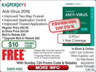 Kaspersky Anti-Virus 2016 (3-PC/1yr) Free after $45 Rebate @frys (w/emailed code starts 7/24) HGST 4TB Coolspin Hard Drive Boxed $94