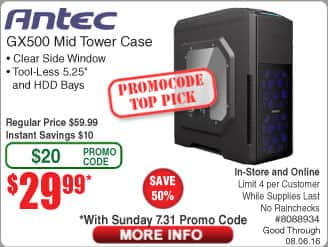 Antec GX500 ATX Mid Case $30@Frys (w/emailed code starts 7/31) 630W 80+ Bronze PSU $40AR  16GB DDR3 1866 RAM Kit $50AR / DDR4 3000 $57AR  4TB WD NAS HDD $129/ Mainstream$99