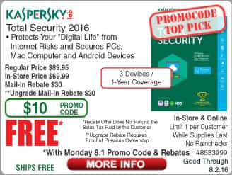 Kaspersky Total Security 2016 3-Dev Free after $60 Rebate (w/emailed code starts 8/1) Gigabyte GA-X99-SLI X99 Motherboard $119AR