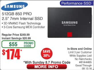 Samsung 850 Pro 512GB SSD $174 @Frys (starts 8/7 w/emailed code)  Asus RT-AC3200 Wifi Router $179AC  750W Enermax 80Plus Gold PSU $49AR
