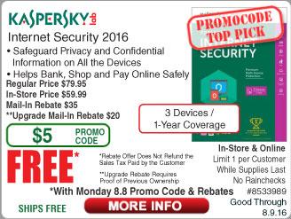 Kaspersky Internet Security 2016 3-Dev Free after $55 Rebate @Frys (starts 8/8w/emailed code)