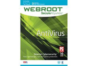 Webroot SecureAnywhere AntiVirus 2016 (1-Year/3-Device Digital Download) $5AC@NeweggBusiness